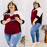 Женская блуза легкая блузка свободного фасона V образный вырез размер: 50, 52, 54, 56-58, фото 8