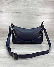 Синя жіноча сумочка! Крос-боді маленька 62203 клатч через плече на довгому ремінці