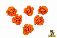 Цветы Розы Оранжевые 4,5 см  из фоамирана (латекса) 10 шт/уп