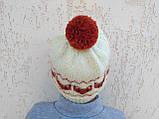 Вязанная шапка с лисичками с помпоном, фото 7