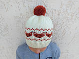 Вязанная шапка с лисичками с помпоном, фото 2