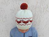 Вязанная шапка с лисичками с помпоном, фото 3