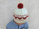 Вязанная шапка с лисичками с помпоном, фото 6