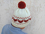 Вязанная шапка с лисичками с помпоном, фото 4