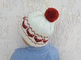 Вязанная шапка с лисичками с помпоном, фото 5