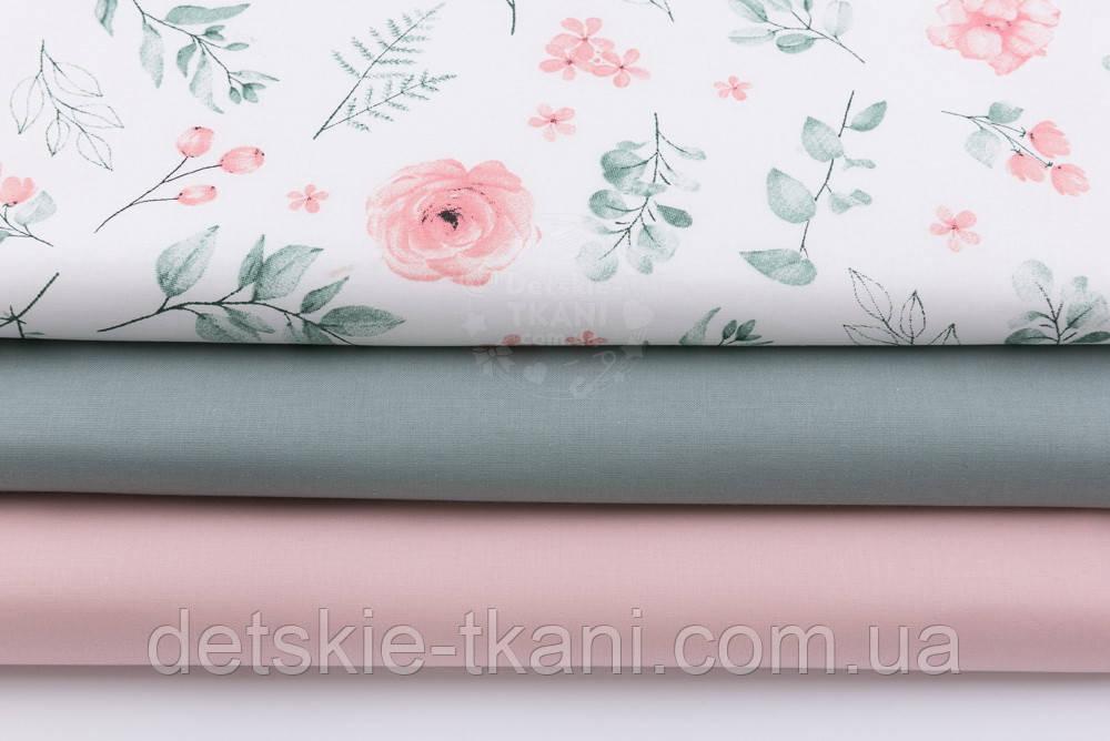 """Набор тканей из 3 штук """"Цветы в пастельных оттенках"""" 50*50 см"""