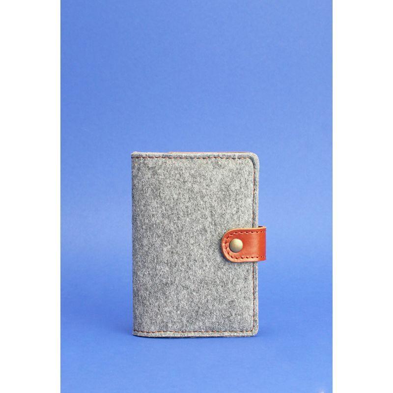 Фетровий обкладинка для паспорта 3.0 з коричневими шкіряними вставками