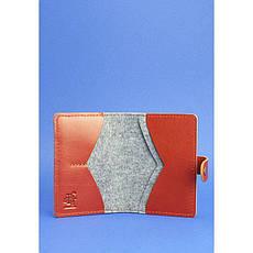 Фетровий обкладинка для паспорта 3.0 з коричневими шкіряними вставками, фото 3