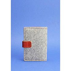 Фетровий обкладинка для паспорта 3.0 з коричневими шкіряними вставками, фото 2