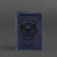 Шкіряна обкладинка для паспорта з американським гербом синя, фото 2