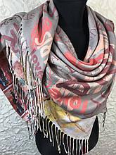 Жіночий стильний хустку двосторонній з різними малюнками 100х100 см
