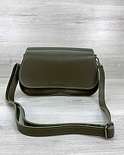 Оливкова маленька жіноча сумка 62308 крос боді через плече