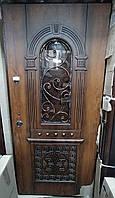 Двери входные R 96 - Дуб Золотой, ДЕМ-2, рама 100 + стекло + ковка (503/00847) код. 24609