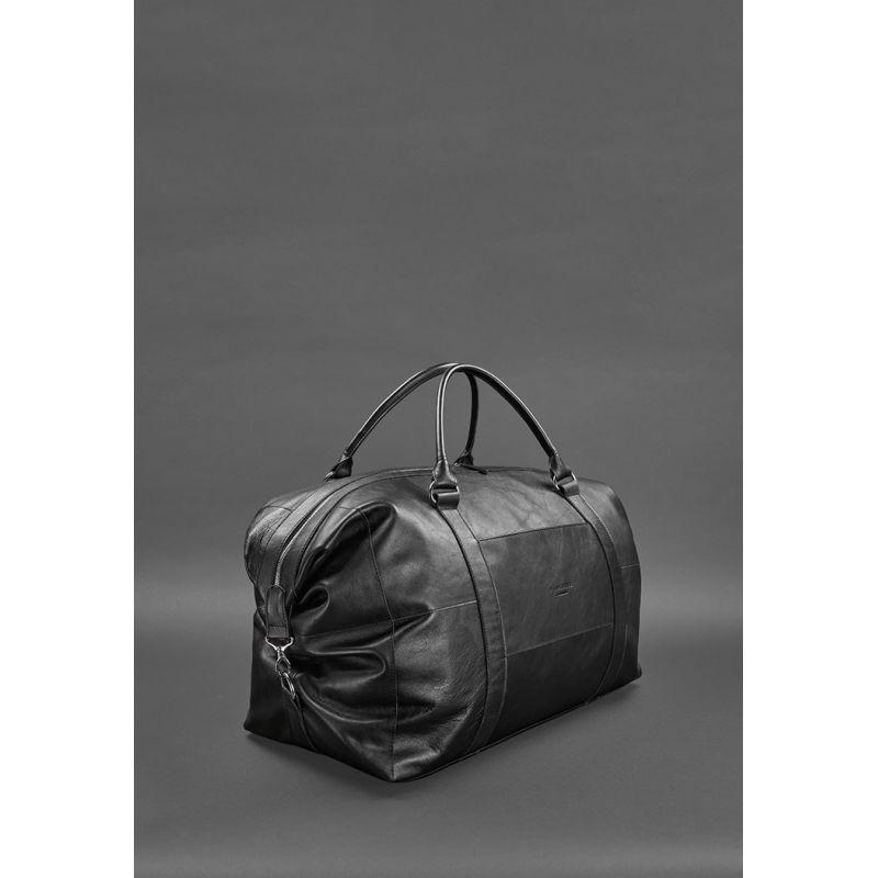 Шкіряна дорожня сумка чорна