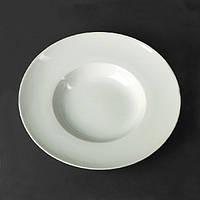 """Тарелка фарфоровая """"Экстра белая"""" глубокая 230мм с бортом"""
