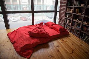 Однотонный комплект постельного белья из Сатина, красный полуторный размер