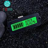 Индикатор уровня заряда аккумулятора врезной ЖКИ, зеленый, фото 2