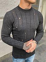 Свитер мужской рваный серого цвета. Мужской вязаный тонкий свитер серый.