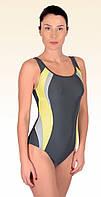 Купальник женский цельный 36 спортивный желто-серый Amanta