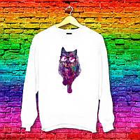 Свитшот с принтом Кот в очках (фиолетовый фильтр) Push IT