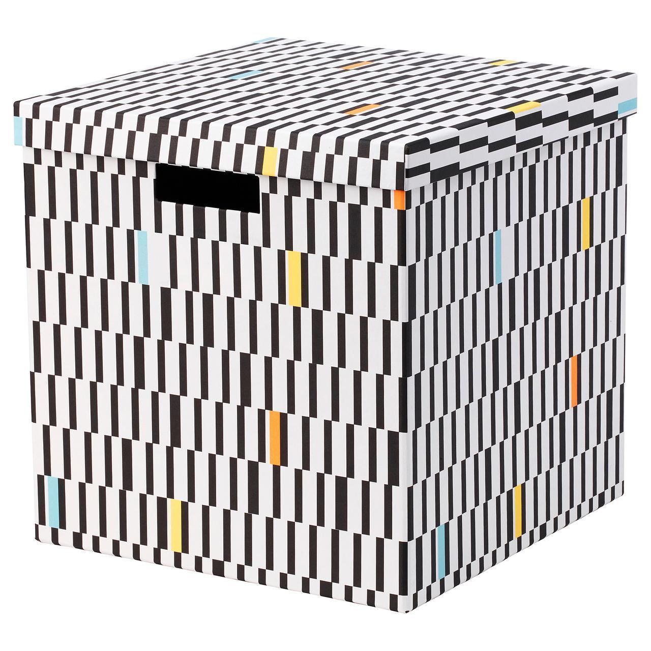 IKEA TJENA (103.745.22) Коробка с крышкой, черный/белый
