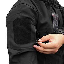 Тактическая куртка Soft Shell ESDY A001 Black M мужская влагозащищенная ветрозащитная ветровка камуфляж, фото 3