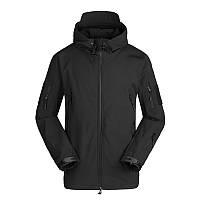 Тактическая куртка Soft Shell Lesko A001 Black S мужская влагозащищенная ветрозащитная ветровка