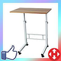 Журнальный столик на колесиках с регулировкой высоты (40х60 см) коричневый (для ноутбука), фото 1