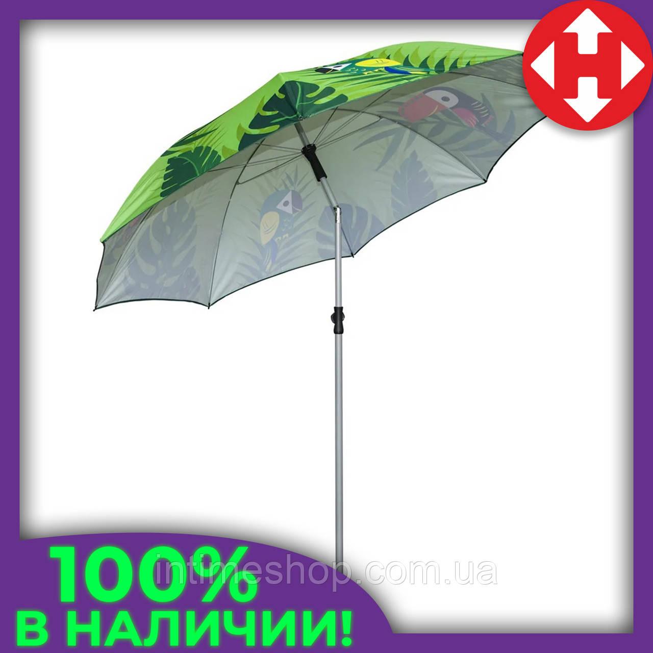 Огромный зонт пляжный от солнца - 2 м. Зеленый, попугаи - усиленный складной для пляжа