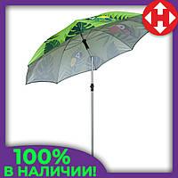 Огромный зонт пляжный от солнца - 2 м. Зеленый, попугаи - усиленный складной для пляжа, фото 1