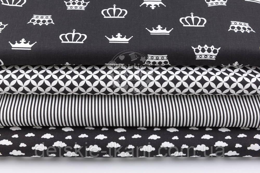 """Набор тканей из 4 штук """"Белые короны и облака на чёрном фоне"""" 50*50 см"""
