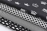 """Набор тканей из 4 штук """"Белые короны и облака на чёрном фоне"""" 50*50 см, фото 2"""