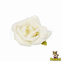 Роза белая из фоамирана (латекса) 6,5 см 1 шт