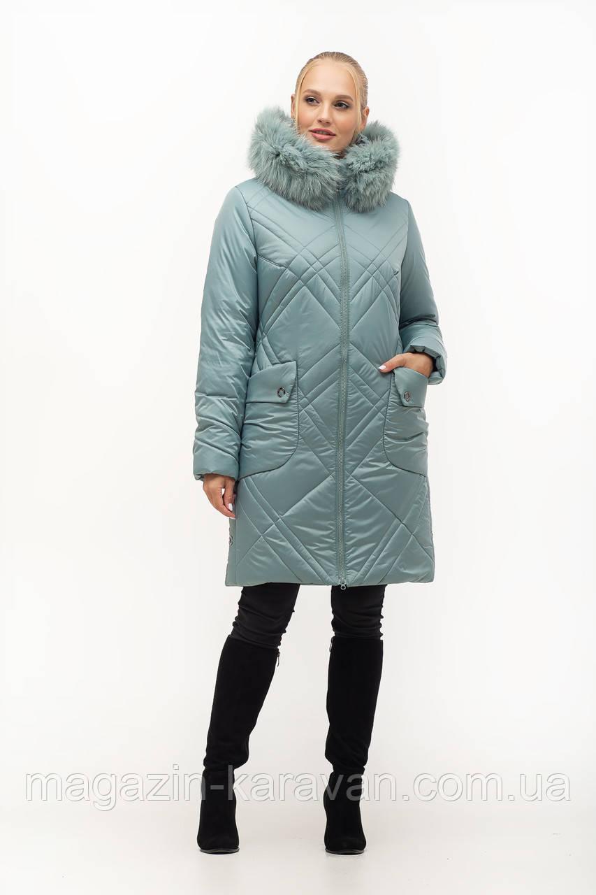 Женская зимняя куртка 155-2ПЧ Мята (48-58)