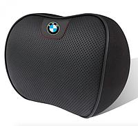 Ортопедическая подушка на подголовник в авто автомобиль с логотипом натуральная кожа, фото 1