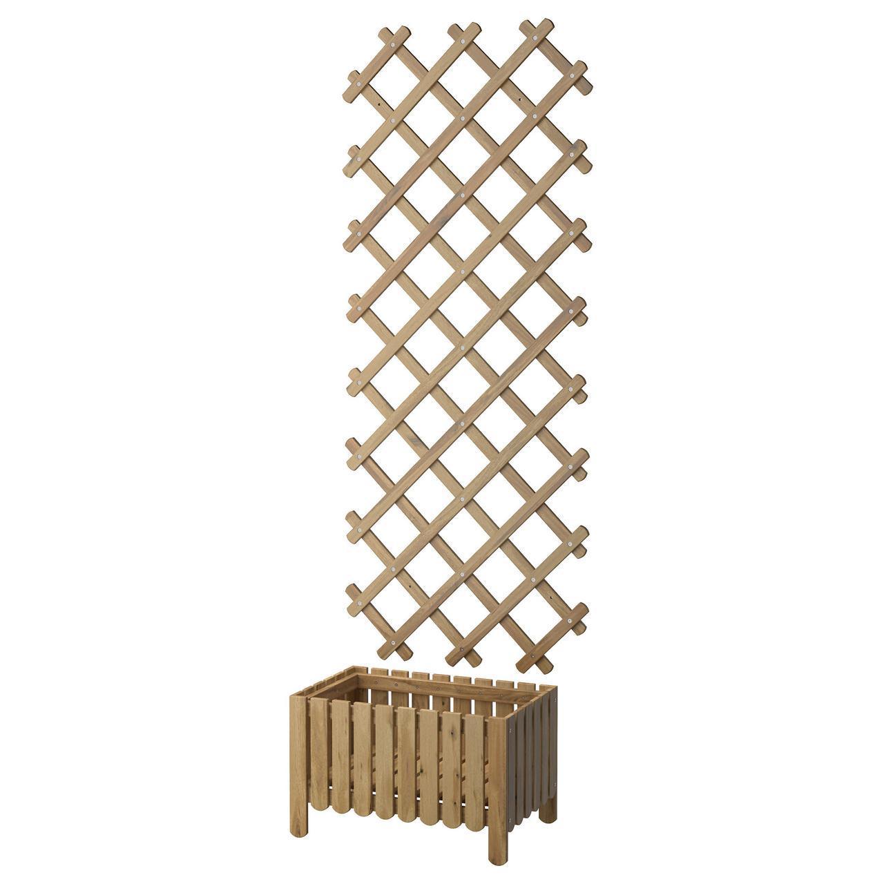 IKEA ASKHOLMEN (590.539.25) Коробка с решеткой, садом, серого цвета
