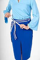 Юбка миди синяя с разрезом и асимметричным белым декором и накладным карманом, фото 1