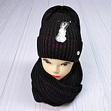 М 5062 Комплект жіночий-підлітковий шапка+хомут, марс,фліс розмір вільний, фото 3