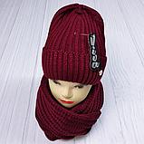 М 5062 Комплект жіночий-підлітковий шапка+хомут, марс,фліс розмір вільний, фото 4