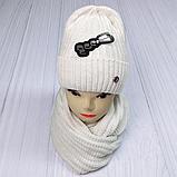 М 5062 Комплект жіночий-підлітковий шапка+хомут, марс,фліс розмір вільний, фото 5