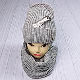 М 5062 Комплект жіночий-підлітковий шапка+хомут, марс,фліс розмір вільний, фото 6