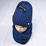 М 5062 Комплект жіночий-підлітковий шапка+хомут, марс,фліс розмір вільний, фото 8
