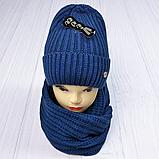 М 5062 Комплект жіночий-підлітковий шапка+хомут, марс,фліс розмір вільний, фото 9