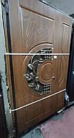 Двери входные L 120 - Дуб Золотой, Подсолнух, ПВХ-90, рама 80 + ковка + стекло