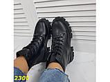 Ботинки на высокой тракторной подошве черные демисезон К2300, фото 2