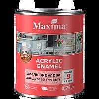Эмаль акриловая для дерева и металла Maxima белая глянцевая 0.75 л