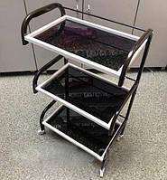 Косметологическая тележка с 3 хромированными полочками на колесиках, Черный цвет