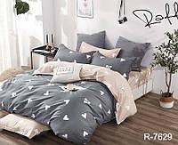 Семейный комплект постельного белья серого цвета с сердечками, Ранфорс