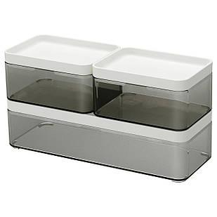 IKEA BROGRUND (103.290.92) Коробка, 3 шт., Прозрачный серый, белый