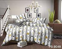 Семейный комплект постельного белья в полоску со звездами, Полисатин